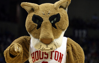 SPOKANE, WA - MARCH 19:  The Houston Cougars mascot performs during a pause in the action against the Maryland Terrapins  during the first round of the 2010 NCAA menÕs basketball tournament at Spokane Arena on March 19, 2010 in Spokane, Washington.  (Phot