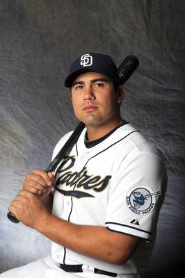 PEORIA, AZ - FEBRUARY 27:  Carlos Quentin #18 of the San Diego Padres poses for a portrait during a photo day at Peoria Stadium on February 27, 2012 in Peoria, Arizona. (Photo by Rich Pilling/Getty Images)