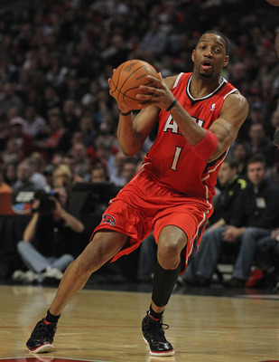 CHICAGO, IL - FEBRUARY 20: Tracy McGrady #1 of the Atlanta Hawks moves against the Chicago Bulls at the United Center on February 20, 2012 in Chicago, Illinois. The Bulls defeated the Hawks 90-79. NOTE TO USER: User expressly acknowledges and agrees that,