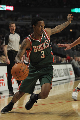 CHICAGO, IL - FEBRUARY 22:  Brandon Jennings #3 of the Milwaukee Bucks moves against the Chicago Bulls at the United Center on February 22, 2012 in Chicago, Illinois. The Bulls defeated the Bucks 110-91. NOTE TO USER: User expressly acknowledges and agree