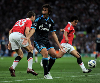 MANCHESTER, ENGLAND - MAY 04:  Raul Gonzalez of Schalke reacts during the UEFA Champions League Semi Final second leg match between Manchester United and Schalke at Old Trafford on May 4, 2011 in Manchester, England.  (Photo by Michael Regan/Getty Images)