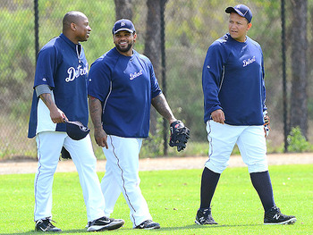 Detroit Tigers sluggers Delmon Young, Prince Fielder, and Miguel Cabrera