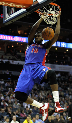 CHARLOTTE, NC - JANUARY 13:  Greg Monroe #10 of the Detroit Pistons dunks the ball against the Charlotte Bobcats during their game at Time Warner Cable Arena on January 13, 2012 in Charlotte, North Carolina. NOTE TO USER: User expressly acknowledges and a