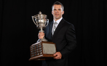 LAS VEGAS, NV - JUNE 22:  Martin St. Louis  of the Tampa Bay Lightning poses after winning the Lady Byng Memorial Trophyposes for a portrait during the 2011 NHL Awards at the Palms Casino Resort June 22, 2011 in Las Vegas, Nevada.  (Photo by Jeff Gross/Ge