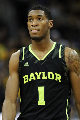 KANSAS CITY, MO - MARCH 10:  Perry Jones III #1 of the Baylor Bears reacts in the second half against the Missouri Tigers during the championship game of the 2012 Big 12 Men's Basketball Tournament at Sprint Center on March 10, 2012 in Kansas City, Missou