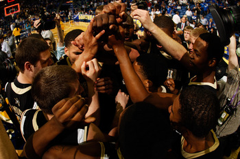 NEW ORLEANS, LA - MARCH 11:  The Vanderbilt Commodores celebrate their 71 to 64 win over the Kentucky Wildcats in the championship game of the 2012 SEC Men's Basketball Tournament at New Orleans Arena on March 11, 2012 in New Orleans, Louisiana.  (Photo b