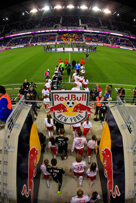 HARRISON, NJ - OCTOBER 20: The New York Red Bulls enter the field before the game against the Philadelphia Union at Red Bull Arena on October 20, 2011 in Harrison, New Jersey.  (Photo by Chris Trotman/Getty Images)