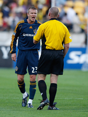 WELLINGTON, NEW ZEALAND - DECEMBER 01:  David Beckham of the LA Galaxy disagrees with the Ref during the friendly match between Wellington Phoenix FC and the LA Galaxy held at the Westpac Stadium December 1, 2007 in Wellington, New Zealand.  (Photo by Mar
