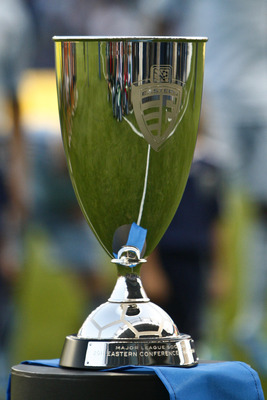 KANSAS CITY, KS - NOVEMBER 06:  The MLS Easter Conference Championship trophy sits on display before the Houston Dynamo MLS Eastern Conference Championship match against Sporting Kansas City at Livestrong Sporting Park on November 6, 2011 in Kansas City,