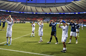 VANCOUVER, CANADA - OCTOBER 22:  Members of the Vancouver Whitecaps FC acknowledge the fans after their MLS game against the Colorado Rapids October 22, 2011 at BC Place in Vancouver, British Columbia, Canada. Colorado won 2-1.  (Photo by Jeff Vinnick/Get