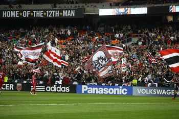 WASHINGTON - APRIL 17: The Barra Brava fan section of D.C. United cheer during game against the Chicago Fire at RFK Stadium on April 17, 2010 in Washington, DC. The Fire won 2-0. (Photo by Ned Dishman/Getty Images)