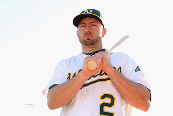 PHOENIX, AZ - FEBRUARY 27:  Cliff Pennington #2 of the Oakland Athletics poses for a portrait during spring training photo day at Phoenix Municipal Stadium on February 27, 2012 in Phoenix, Arizona.  (Photo by Christian Petersen/Getty Images)