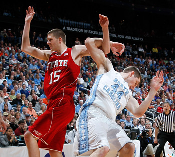 NC State's Scott Wood and North Carolina's Tyler Zeller appear to be working on some new moves for the Big Dance.  Yup, I know what you're thinking.