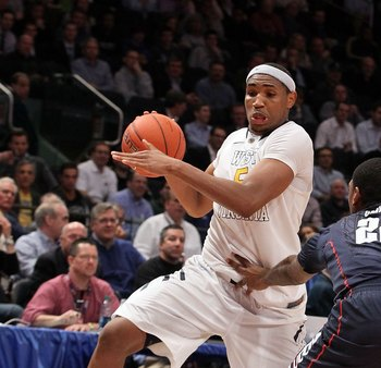 A couple of fingers on the stomach won't stop West Virginia's Kevin Jones.  The senior forward is averaging 20 points and 11 rebounds per game.