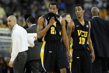 Virginia Commonwealth players look on during VCU's Final Four loss to Butler.