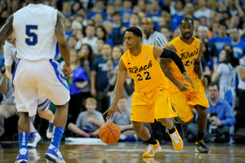 Long Beach State star Casper Ware dribbles up-court during Long Beach State's tough loss to Creighton.