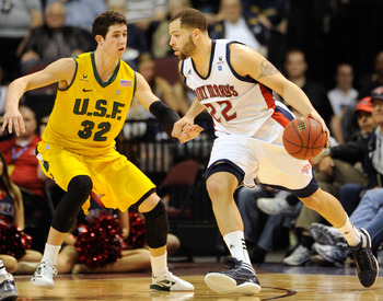 San Francisco tries to defend Saint Mary's during the WCC Tournament.