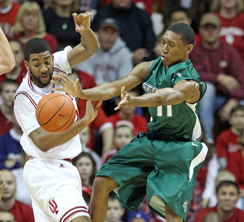 A Stetson player tries to get off a pass during a loss to Indiana.