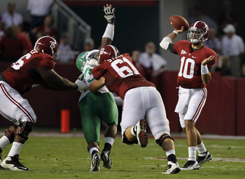 D.J. Fluker (left) and Anthony Steen protect quarterback A.J. McCarron.