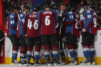 DENVER, CO - MARCH 01:  Head coach Joe Sacco of the Colorado Avalanche directs the team during a time out against the Columbus Blue Jackets at the Pepsi Center on March 1, 2012 in Denver, Colorado.  (Photo by Doug Pensinger/Getty Images)