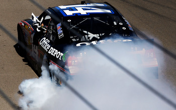 Smoke tore up the track Sunday at Las Vegas