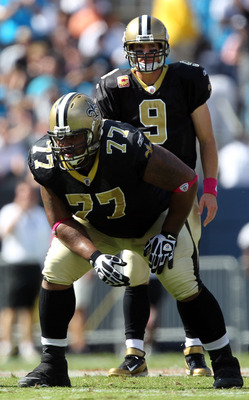 CHARLOTTE, NC - OCTOBER 09:   Carl Nicks #77 of the New Orleans Saints during their game at Bank of America Stadium on October 9, 2011 in Charlotte, North Carolina.  (Photo by Streeter Lecka/Getty Images)