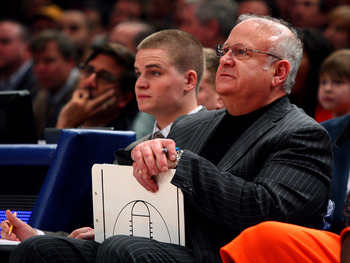 NEW YORK - MARCH 12:  Assistant coach Bernie Fine of the Syracuse Orange looks on from the sidelines during their game against the Connecticut Huskies during the quarterfinals of the Big East Tournament at Madison Square Garden on March 12, 2009 in New Yo