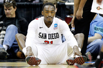 COLUMBUS, OH - MARCH 16:  Jamaal Franklin #21 of the San Diego State Aztecs sits on the floor after being called for a foul against the North Carolina State Wolfpack in the second half during the second round of the 2012 NCAA Men's Basketball Tournament a