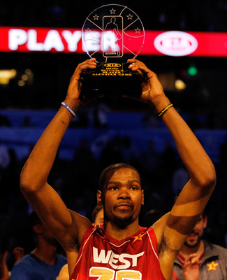 All-Star MVP Kevin Durant hopes to raise a different trophy this June.