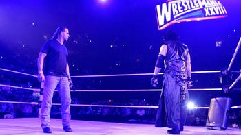 The Undertaker confronts HBK in preperation for the match he has against HHH at WM28.