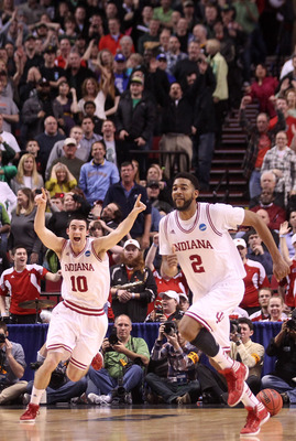 PORTLAND, OR - MARCH 17:  Will Sheehey #10 and Christian Watford #2 of the Indiana Hoosiers celebrate along with their teammates after the Hoosiers defeat the Virginia Commonwealth Rams 63-61 during the third round of the 2012 NCAA Men's Basketball Tourna
