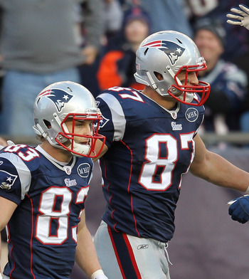 Wes Welker (left) with tight end Rob Gronkowski