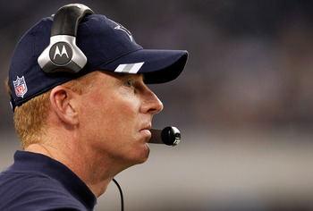 ARLINGTON, TX - DECEMBER 24: Head coach Jason Garrett watches as the Dallas Cowboys take on the Philadelphia Eagles at Cowboys Stadium on December 24, 2011 in Arlington, Texas. The Philadelphia Eagles beat the Dallas Cowboys 20-7.  (Photo by Tom Penningto