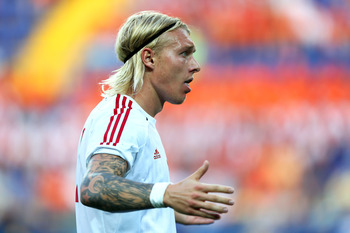 KHARKOV, UKRAINE - JUNE 09:  Simon Kjaer of Denmark looks on during the UEFA EURO 2012 group B match between Netherlands and Denmark at Metalist Stadium on June 9, 2012 in Kharkov, Ukraine.  (Photo by Ian Walton/Getty Images)