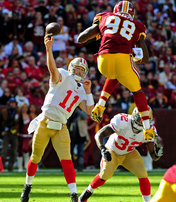 brian orakpo gets airborne against the 49ers.