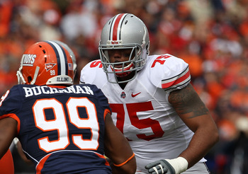 Ohio State offensive lineman Michael Adams would help beef up a depleted front.
