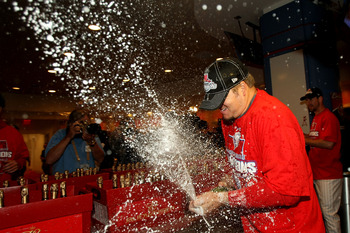 Celebrating after ALCS Game 5, 2009