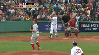 Yes, that's Joe Blanton, giving up a grand slam to Daniel Nava on the first pitch the rookie saw in the major leagues. NESN image from sportsofboston.com