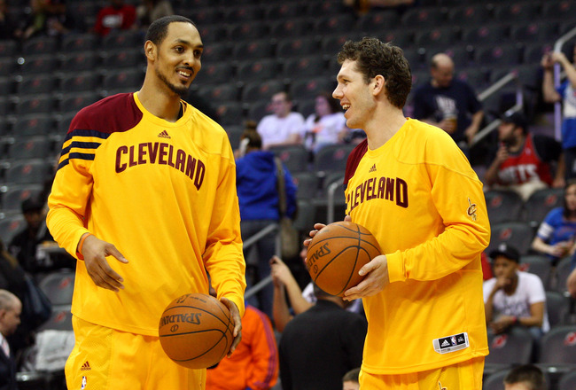 NEWARK, NJ - MARCH 19:  (L-R) Ryan Hollins #5 and Luke Walton #0 of the Cleveland Cavaliers talk during warm up against the New Jersey Nets at Prudential Center on March 19, 2012 in Newark, New Jersey.  NOTE TO USER: User expressly acknowledges and agrees