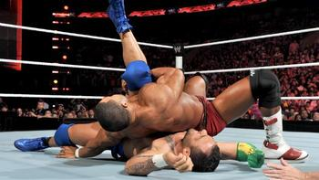 David Otunga pins Santino, photo copyright to WWE.com
