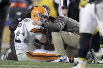 Brown's QB Colt McCoy after suffering a season-ending concussion against the Steelers