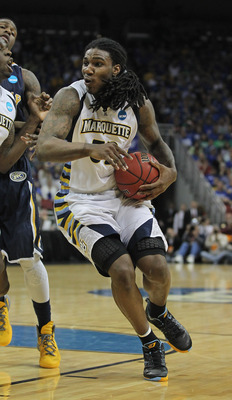 LOUISVILLE, KY - MARCH 17:  Jae Crowder #32 of the Marquette Golden Eagles against the Murray State Racers during the third round of the 2012 NCAA Men's Basketball Tournament at KFC YUM! Center on March 15, 2012 in Louisville, Kentucky. Marquette defeated