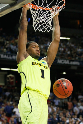 ATLANTA, GA - MARCH 23:  Perry Jones III #1 of the Baylor Bears dunks against the Xavier Musketeers in the second half during the 2012 NCAA Men's Basketball South Regional Semifinal game at the Georgia Dome on March 23, 2012 in Atlanta, Georgia.  (Photo b