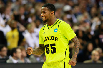 ATLANTA, GA - MARCH 23:  Pierre Jackson #55 of the Baylor Bears reacts during their 75 to 70 win over the Xavier Musketeers during the 2012 NCAA Men's Basketball South Regional Semifinal game at the Georgia Dome on March 23, 2012 in Atlanta, Georgia.  (Ph
