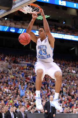 ST. LOUIS, MO - MARCH 23:  :  :  James Michael McAdoo #43 of the North Carolina Tar Heels dunks in the first half against the Ohio Bobcats during the 2012 NCAA Men's Basketball Midwest Regional Semifinal at Edward Jones Dome on March 23, 2012 in St. Louis
