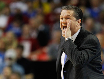 ATLANTA, GA - MARCH 23:  Head coach John Calipari of the Kentucky Wildcats yells to his team in the first half against the Indiana Hoosiers during the 2012 NCAA Men's Basketball South Regional Semifinal game at the Georgia Dome on March 23, 2012 in Atlant
