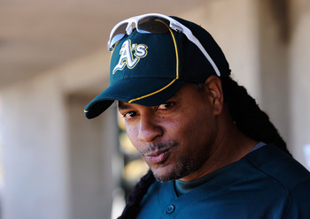 PHOENIX, AZ - MARCH 10:  Manny Ramirez #1 of the Oakland Athletics before the start of a spring training baseball game against the Cincinnati Reds at the Phoenix Municipal Stadium on March 10, 2012 in Phoenix, Arizona.  (Photo by Kevork Djansezian/Getty I