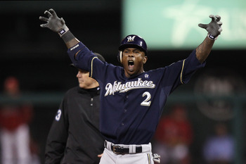 ST LOUIS, MO - OCTOBER 13:  Nyjer Morgan #2 of the Milwaukee Brewers gestures after he doubled in the top of the fifth inning against the St. Louis Cardinals during Game 4 of the National League Championship Series at Busch Stadium on October 13, 2011 in