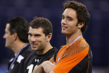 Brock and Andrew Luck (left) share a moment at the 2012 NFL Combine.  NFL.com