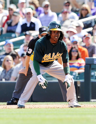 SCOTTSDALE, AZ - MARCH 09:  Jemile Weeks #19 of the Oakland Athletics leads off of first base against the Colorado Rockies at Salt River Fields at Talking Stick on March 9, 2012 in Scottsdale, Arizona.  (Photo by Norm Hall/Getty Images)